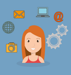 woman with social network icons vector image