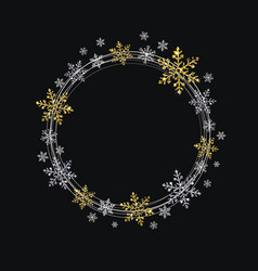 Wreath of decorative gold and silver snowflakes vector