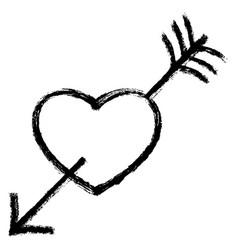 2017 heart arrow work two end vector image vector image