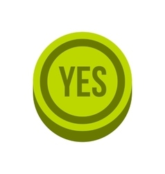 Button yes in circle icon flat style vector image vector image