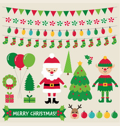 christmas characters and decoration set vector image vector image