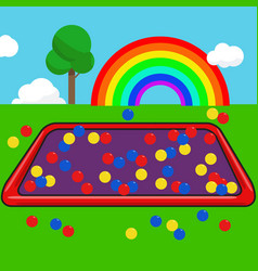garden kids with colorful ball and rainbow sky vector image vector image