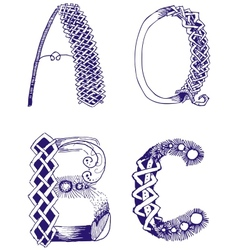 Hand-drawn letters A B C Q vector image