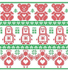 Red green Scandinavian vintage Christmas pattern vector image vector image