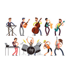 rock n roll music band characters with vector image
