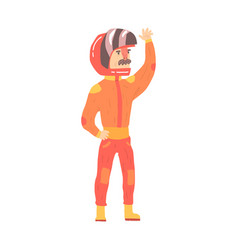 car racing driver man in an orange uniform vector image vector image