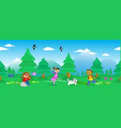 children in mount landscape seamless vector image vector image