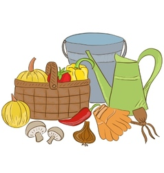garden tools and harvest basket vector image vector image