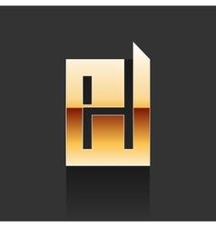 Gold Letter H Shape Logo Element vector image vector image