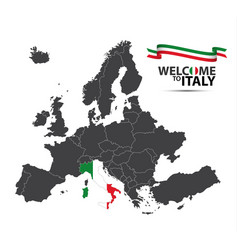 map of europe with the state of italy vector image