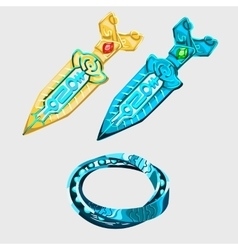 Two fantasy sword with runes and magical bracelet vector image vector image