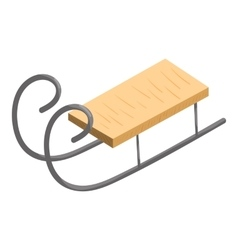 Wooden sled icon cartoon style vector image