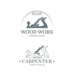 Woodwork label design vector image