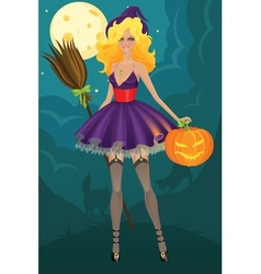 Beautiful witch with pumpkin vector image