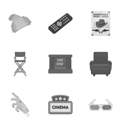 Films and cinema set icons in monochrome style vector image