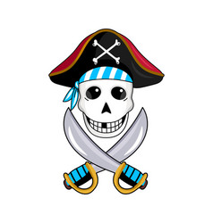 pirate sign with skull and crossed swords vector image vector image