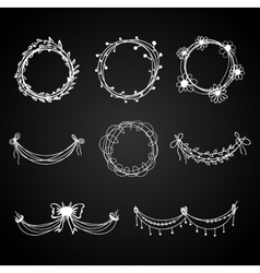 Set of white hand-drawn floral design elements vector image vector image