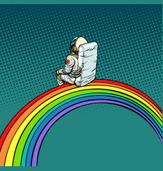 astronaut sits on a rainbow vector image vector image