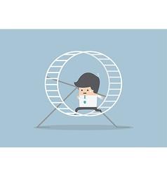 Businessman running in a hamster wheel vector image
