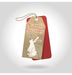 Cute seasons greetings christmas gift tags vector