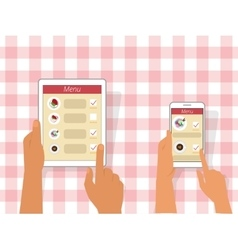 Ordering food using gadgets vector image vector image