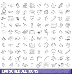 100 schedule icons set outline style vector image