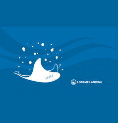Abstract sea stingray banner template white vector