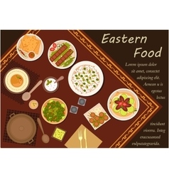 Arabian cuisine food with festive dinner vector