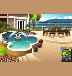 Beautiful backyard garden vector