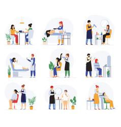 beauty hairdressing spa massage salon procedures vector image