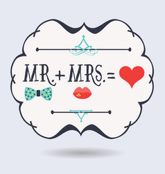 Black abstract emblem with conceptual mr plus mrs vector