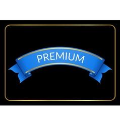 Blue ribbon banner premium black vector image