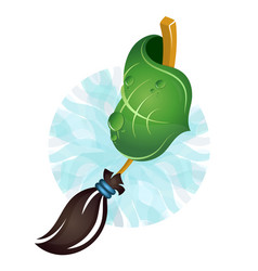 broom and green leaf for cleaning vector image