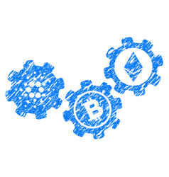 Cardano cryptocurrency mechanism icon grunge vector
