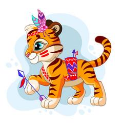 Cartoon character tribal tiger vector