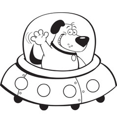 Cartoon dog inside a spaceship vector image