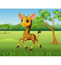 Cartoon funny giraffe running in the jungle vector