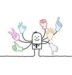 Cartoon orator with multi hands signs vector
