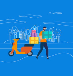 character postman courier with parcel on motorbike vector image
