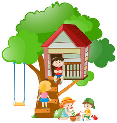 Children playing at the treehouse in garden vector