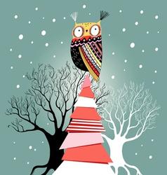 Christmas card with an owl on the tree vector