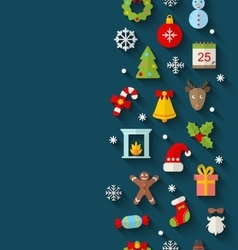 Christmas flat icons with long shadows vector