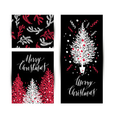 christmas sketchy set in card no transparency no vector image