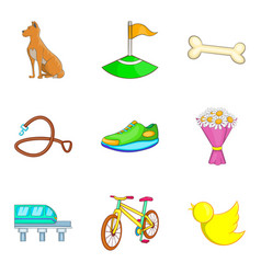 city park recreation icon set cartoon style vector image