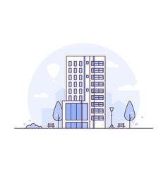 cityscape - modern thin line design style vector image