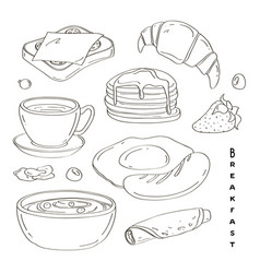 Classic delicous breakfast collection set vector