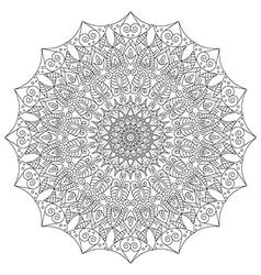 Complex detailed black Mandala on white background vector