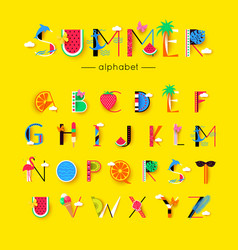 Creative summer font and alphabet vector