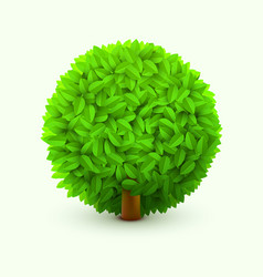 Cute bush with green leaves realistic spring or vector