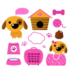 Cute dog accessories collection isolated on white vector image vector image